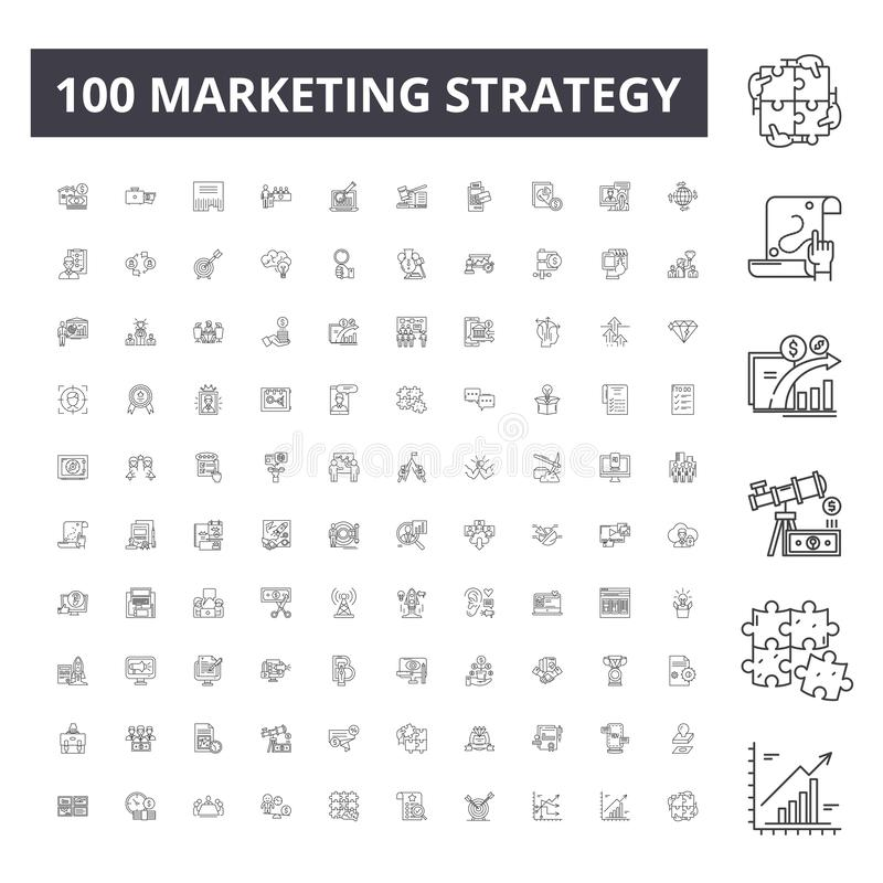 Marketing strategy line icons, signs, vector set, outline illustration concept vector illustration