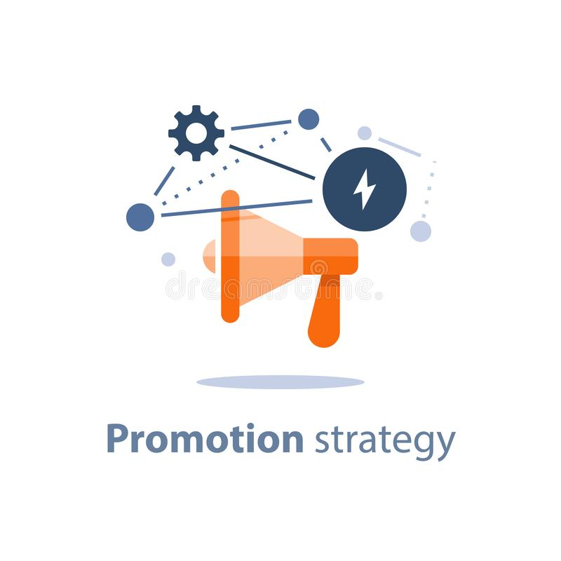 Megaphone icon, marketing strategy plan, attention announcement, public relations concept, advertising campaign. Marketing strategy plan, megaphone icon vector illustration
