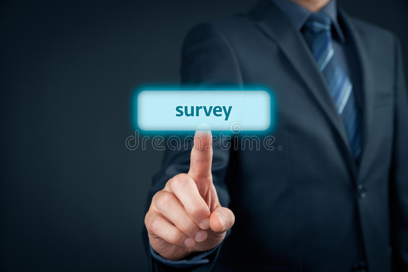 Marketing survey. Marketing specialist (client, customer) click on survey button. Customer care and customer satisfaction concept royalty free stock photos