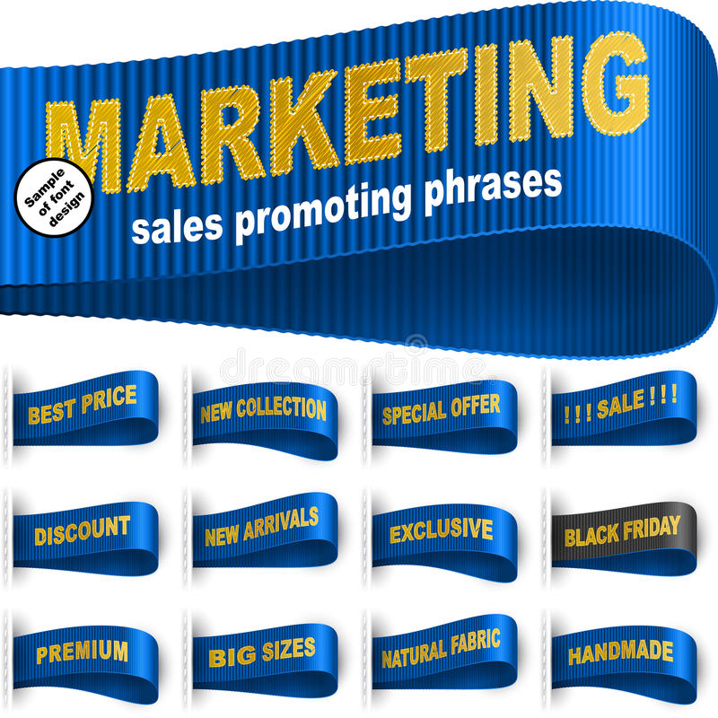 Marketing Tag Label Clothes Sticker Sewn Phrase Set Blue royalty free illustration