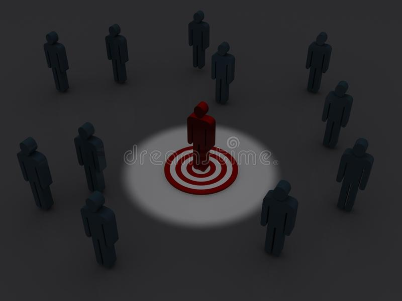 Marketing target concept. 3D graphics of group of figures in a darkened area, and a single red figure standing on a target in the center highlighted by light stock illustration