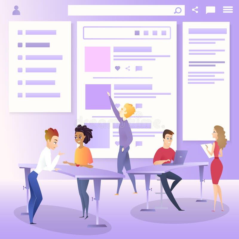 Marketing Team Create Project Interface Prototype. Marketing Team Character Create Project Web Interface Prototype. Website Ui Designer Developer Meeting. Social stock illustration