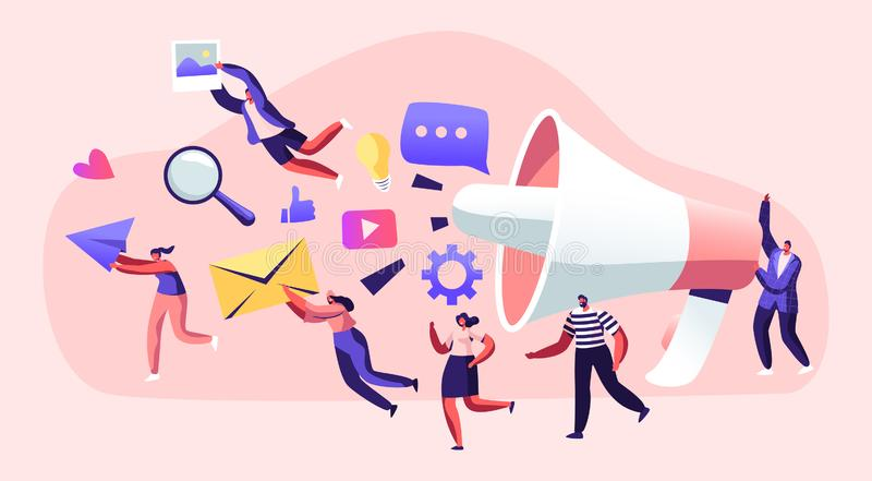 Marketing Team Work with Huge Megaphone, Alert Advertising, Propaganda, Speech Bubbles and Social Media Icons. Public Relations. And Affairs, Communication, Pr royalty free illustration