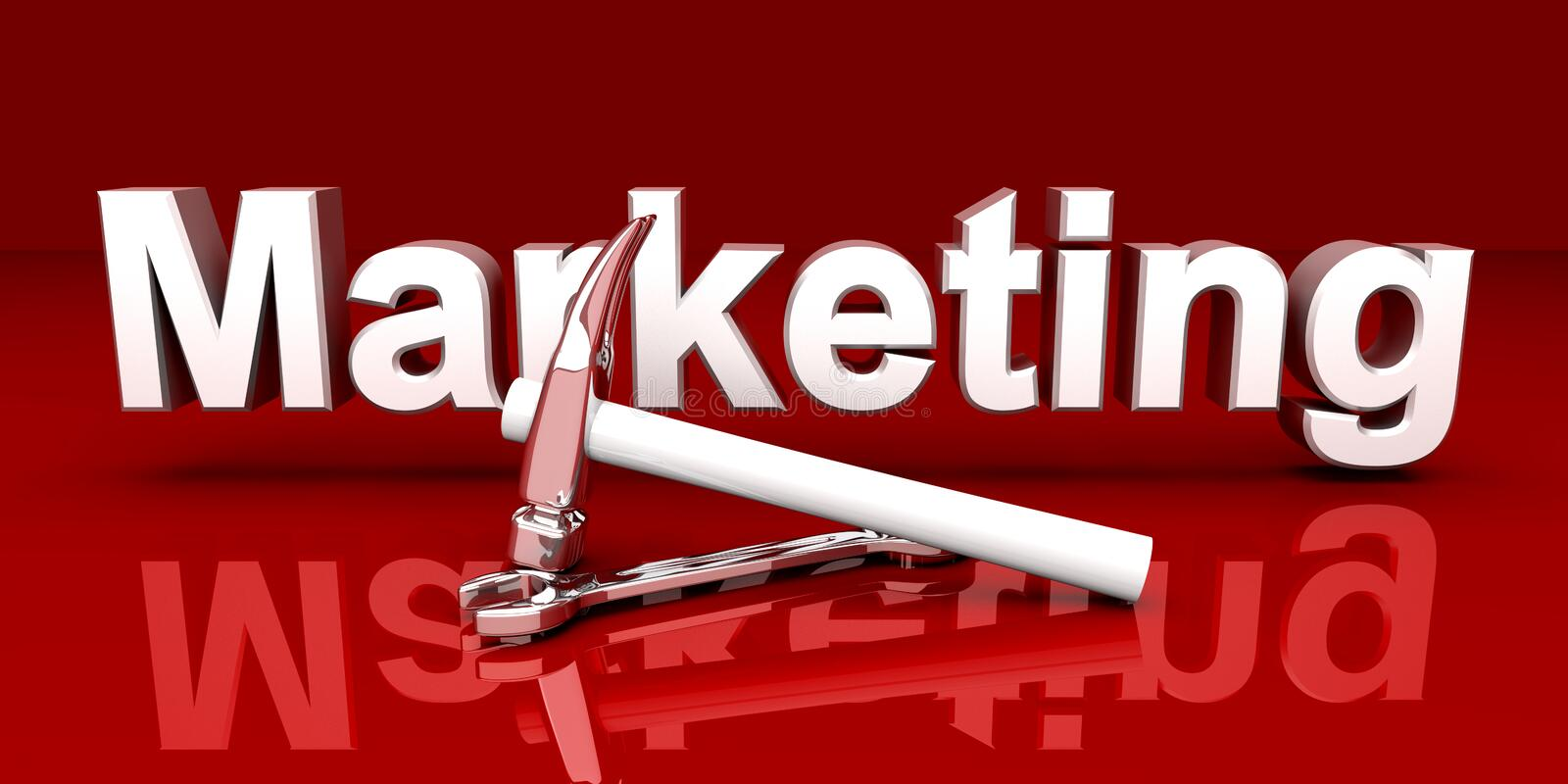 Marketing Tools. Tools for Marketing. 3D rendered Illustration. Red environment royalty free illustration