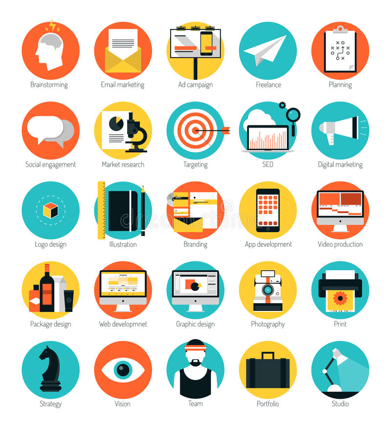 Marketing und flache Ikonen der Dienstleistungen im Designbereich eingestellt lizenzfreie abbildung
