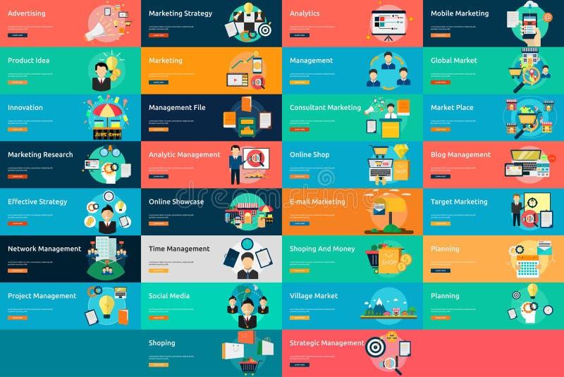Marketing-und Management-Fahnen-Design lizenzfreie abbildung
