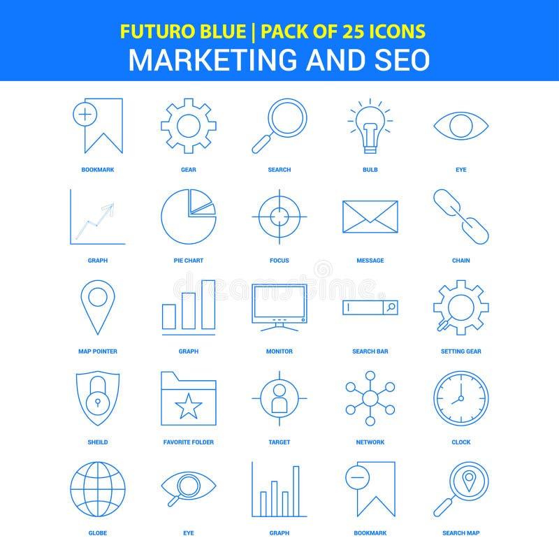Marketing und SEO Icons - Ikonensatz Futuro-Blau-25 vektor abbildung