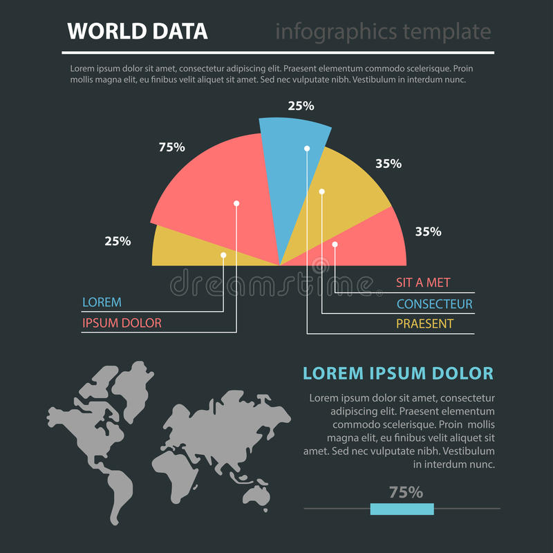 Marketing world map flat infographic: diagram pie chart. Abstract marketing world map flat style thematic infographics concept template. Worldwide circular royalty free illustration