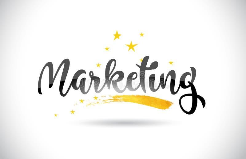 Marketing-Wort-Vektor-Text mit goldener Sterne Spur und Handwritt stock abbildung