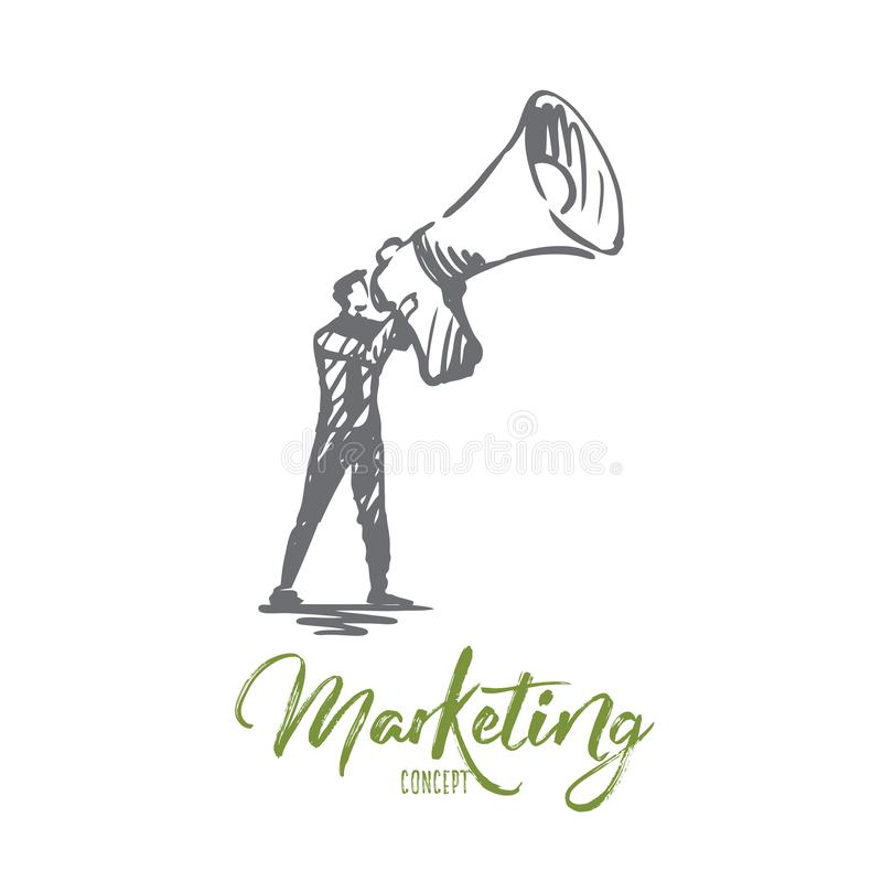 Marketing, zaken, megafoon, elektronische handel, bevorderingsconcept Hand getrokken geïsoleerde vector stock illustratie
