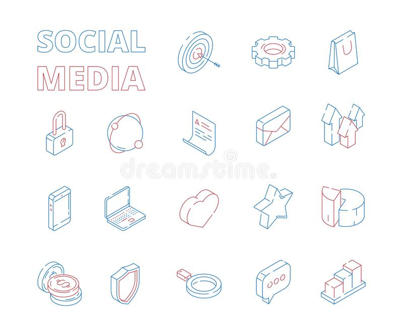 Marketingowa isometric ikona Sieci sieci symboli/lów poczty wykresów podobieństw serc wiadomości ogólnospołecznej medialnej cyfro royalty ilustracja