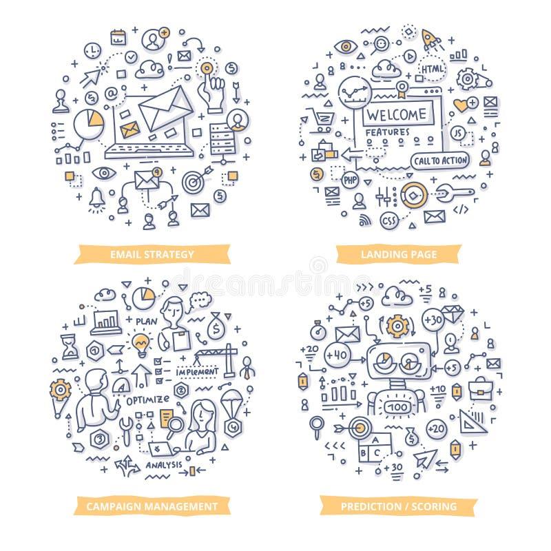 Marketingowe automatyzaci Doodle ilustracje Set 1 royalty ilustracja