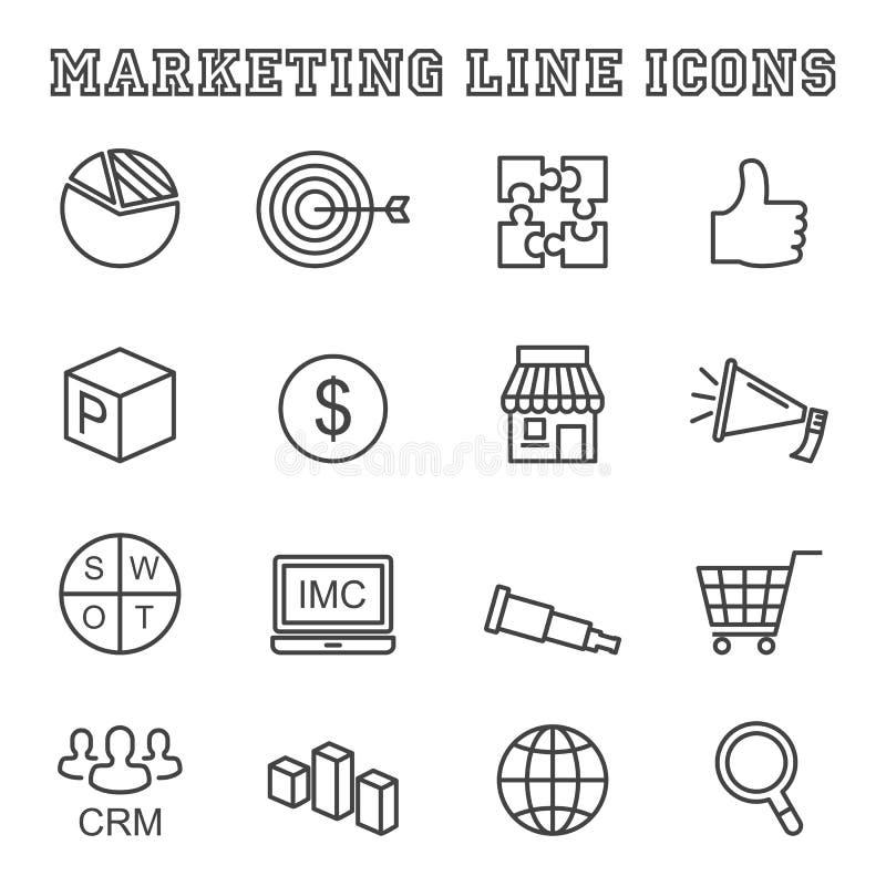 Marketingowe kreskowe ikony royalty ilustracja