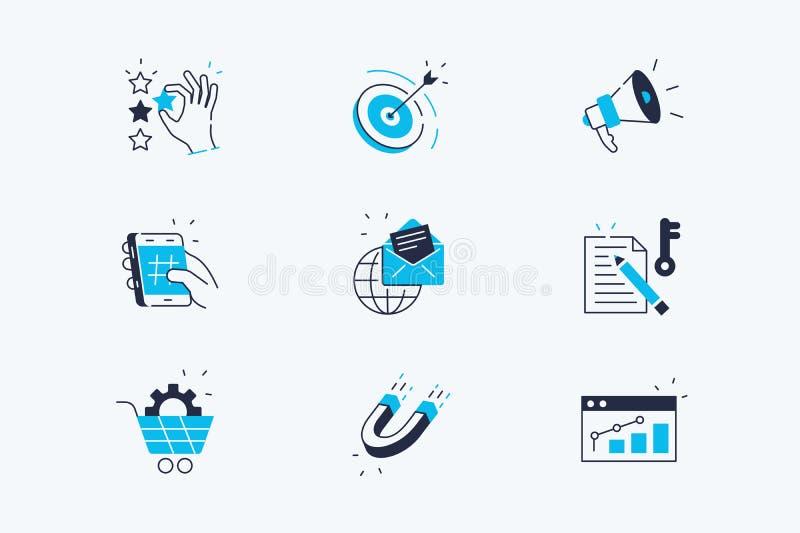 Marketingowe Kreskowe ikony Ustawia? royalty ilustracja