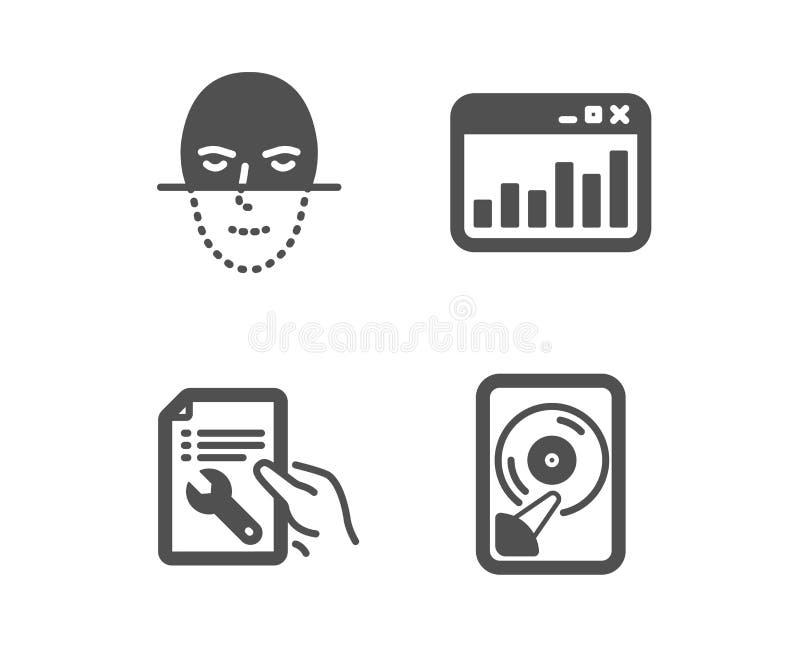 Marketingowe statystyki, twarzy rozpoznanie i naprawa dokument ikony, Hdd znak wektor ilustracji