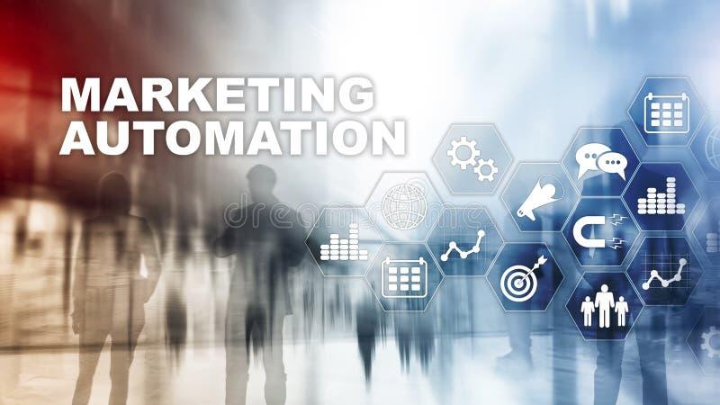Marketingowego automatyzacji oprogramowania technologii procesu systemu Internetowy Biznesowy pojęcie Mieszany medialny tło ilustracja wektor