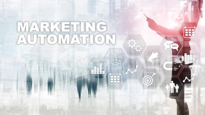 Marketingowego automatyzacji oprogramowania technologii procesu systemu Internetowy Biznesowy poj?cie Mieszany medialny t?o royalty ilustracja