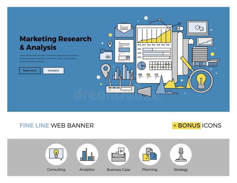 Marketingowego badania mieszkania linii sztandar ilustracji