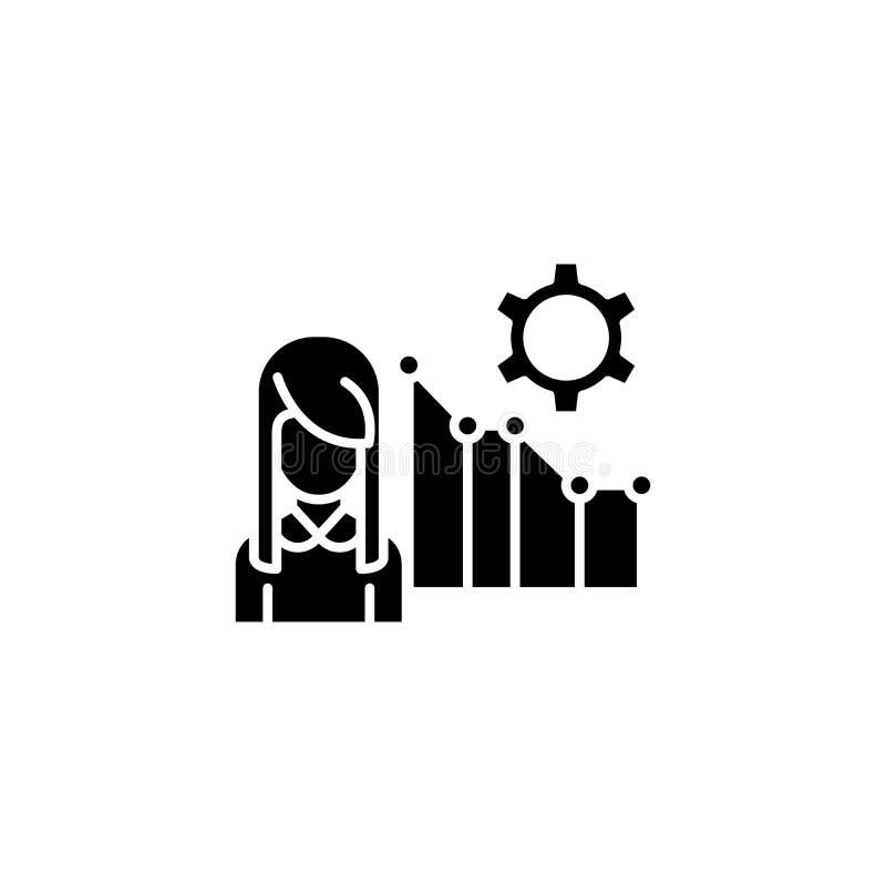 Marketingowego systemu raportu czerni ikony pojęcie Marketingowego systemu raportu płaski wektorowy symbol, znak, ilustracja royalty ilustracja