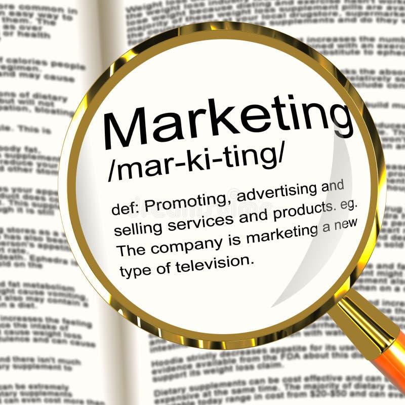Marketingowy definici Magnifier Pokazuje Promocyjne sprzedaże I Adver ilustracji