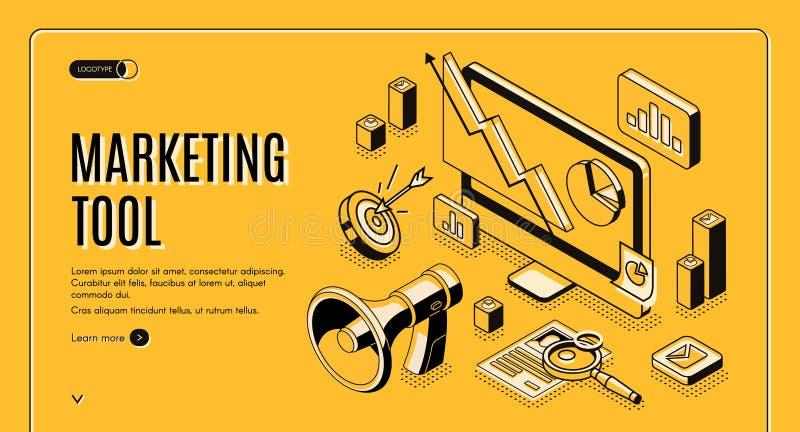 Marketingowy handel elektroniczny, dane analizy narzędzia sztandar ilustracja wektor