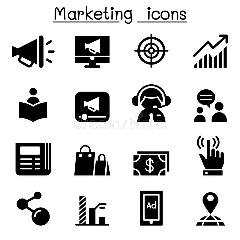 Marketingowy ikona set royalty ilustracja