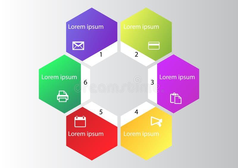 Marketingowy infographic, cyklu diagram, globalny biznesowy wykres, prezentaci mapa 1,2, 3, 4, 5, 6, opcje, części, kroki, proces ilustracji