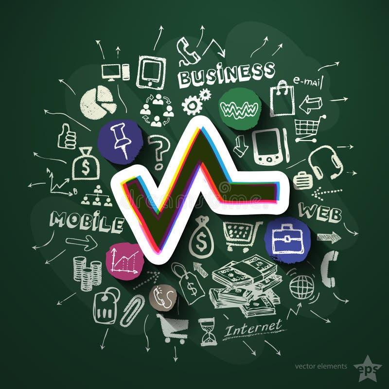 Marketingowy kolaż z ikonami na blackboard ilustracji