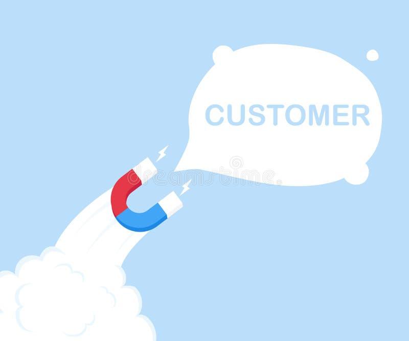 Marketingowy magnes w postaci rakiety przyciąga nowego klienta! Pomyślny biznes Nowożytna mieszkanie stylu wektoru ilustracja ilustracja wektor