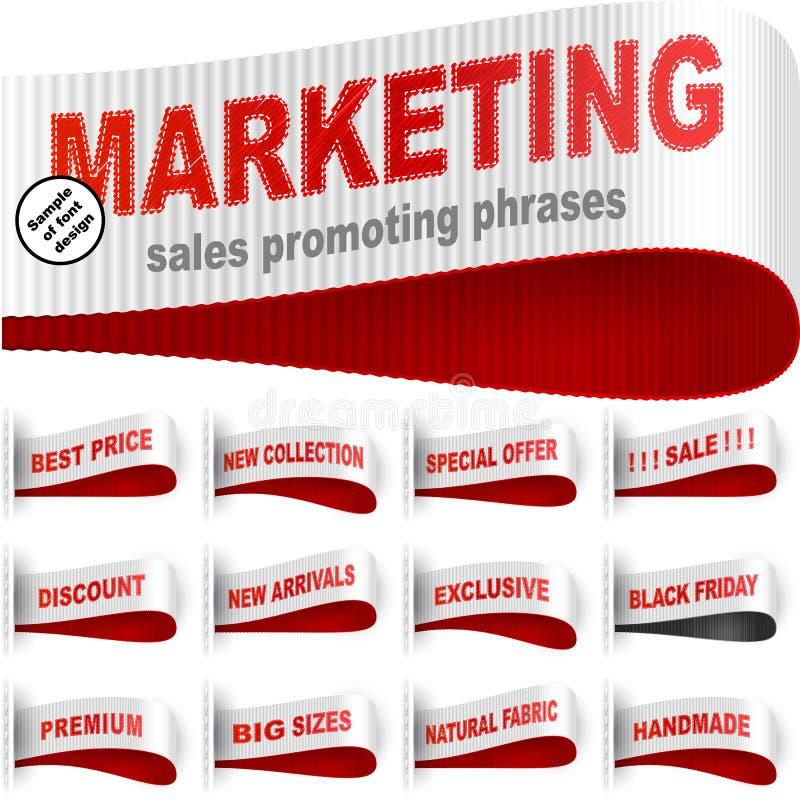 Marketingowy Odzieżowy majcher Szący etykietki etykietki zwrota Ustalony Czerwony biel ilustracji