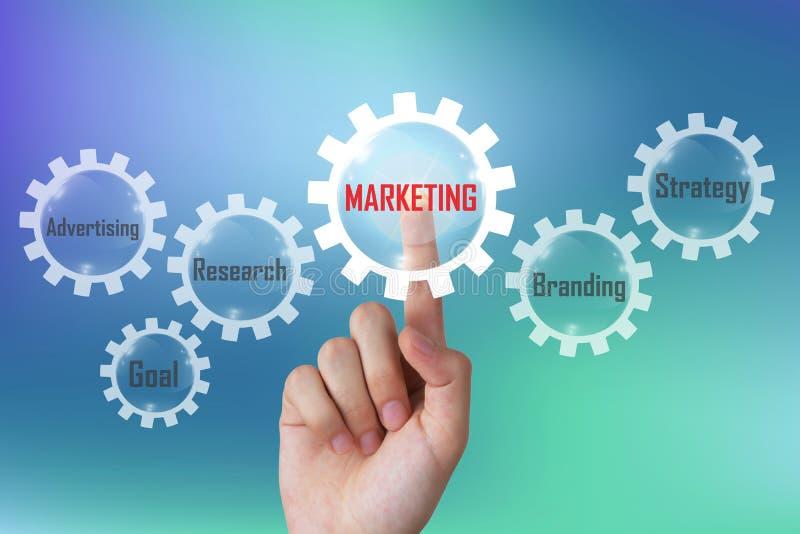 Marketingowy pojęcie, biznesmena dosunięcia marketingowy diagram na imaginacyjnym ekranie dotykowym obrazy royalty free