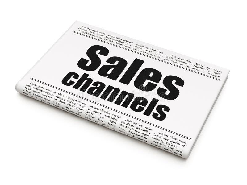 Marketingowy pojęcie: nagłówek prasowy sprzedaży kanały royalty ilustracja