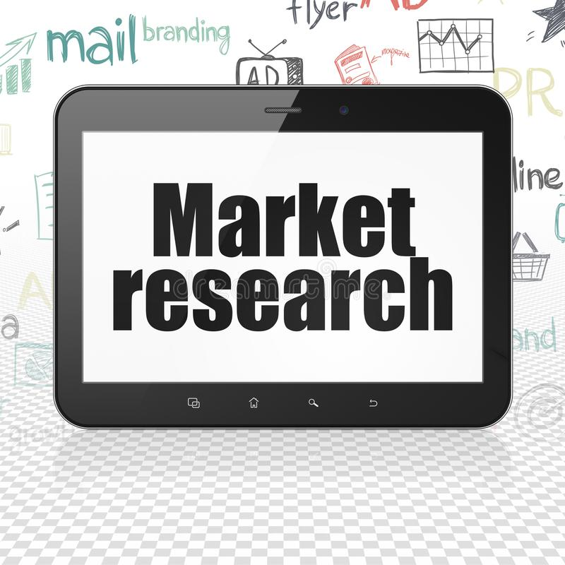 Marketingowy pojęcie: Pastylka komputer z badaniem rynku na pokazie ilustracji