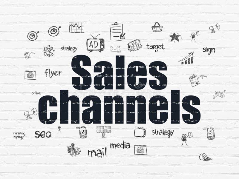 Marketingowy pojęcie: Sprzedaż kanały na ściennym tle ilustracji