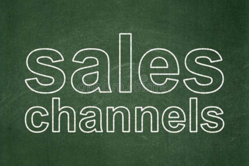 Marketingowy pojęcie: Sprzedaż kanały na chalkboard tle royalty ilustracja
