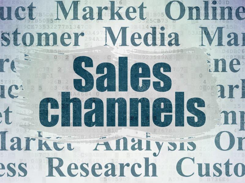 Marketingowy pojęcie: Sprzedaż kanały na Cyfrowych dane papieru tle ilustracja wektor