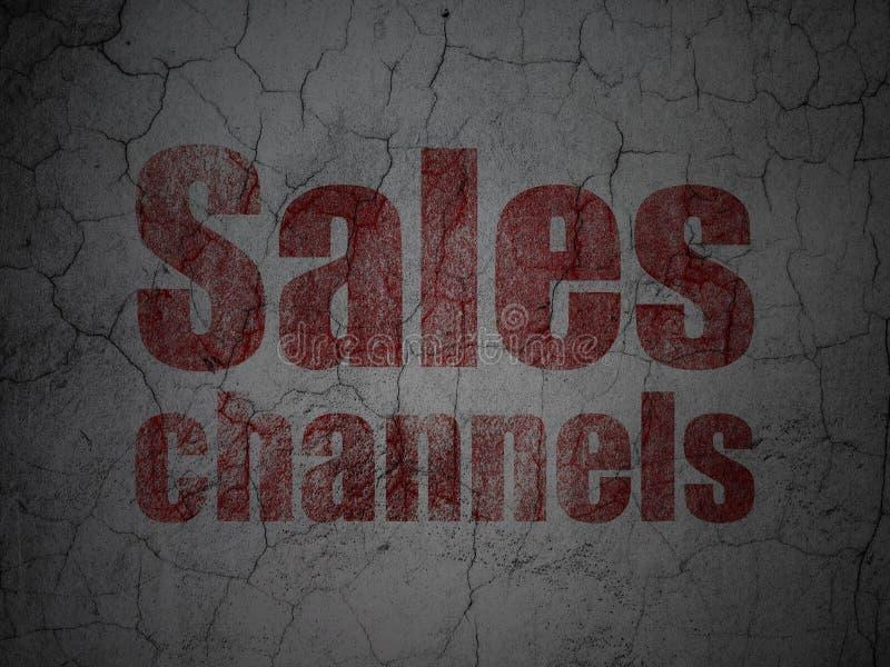 Marketingowy pojęcie: Sprzedaż kanały na grunge ściany tle ilustracji