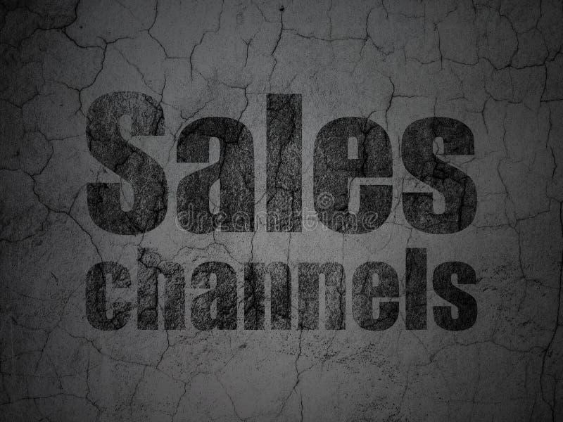 Marketingowy pojęcie: Sprzedaż kanały na grunge ściany tle royalty ilustracja