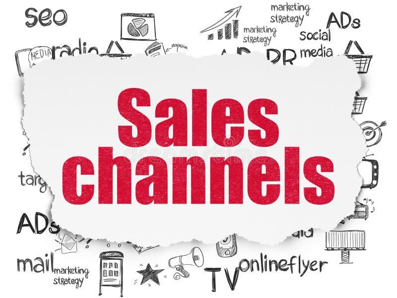 Marketingowy pojęcie: Sprzedaż kanały na Poszarpanym Papierowym tle ilustracja wektor