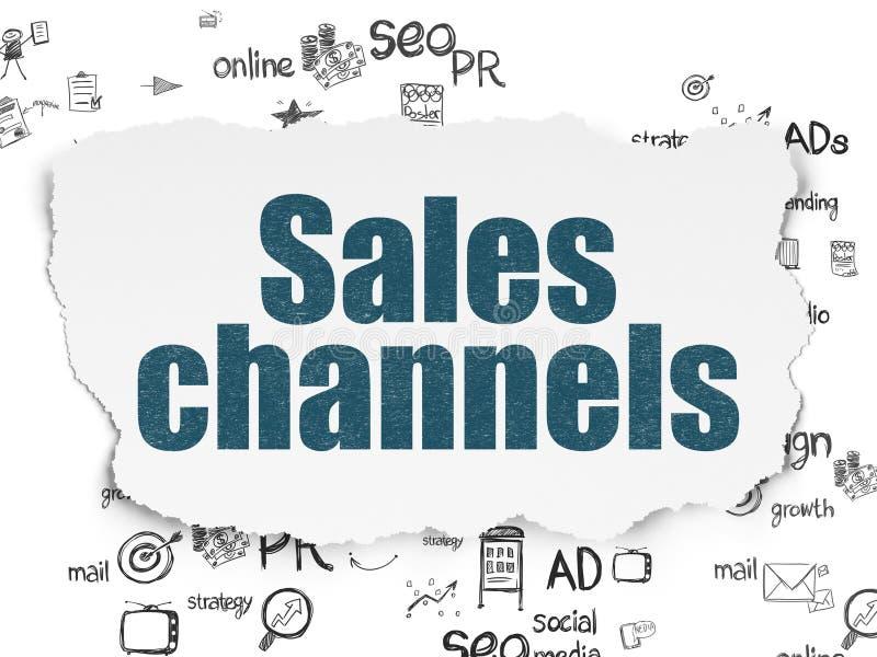 Marketingowy pojęcie: Sprzedaż kanały na Poszarpanym papierze royalty ilustracja