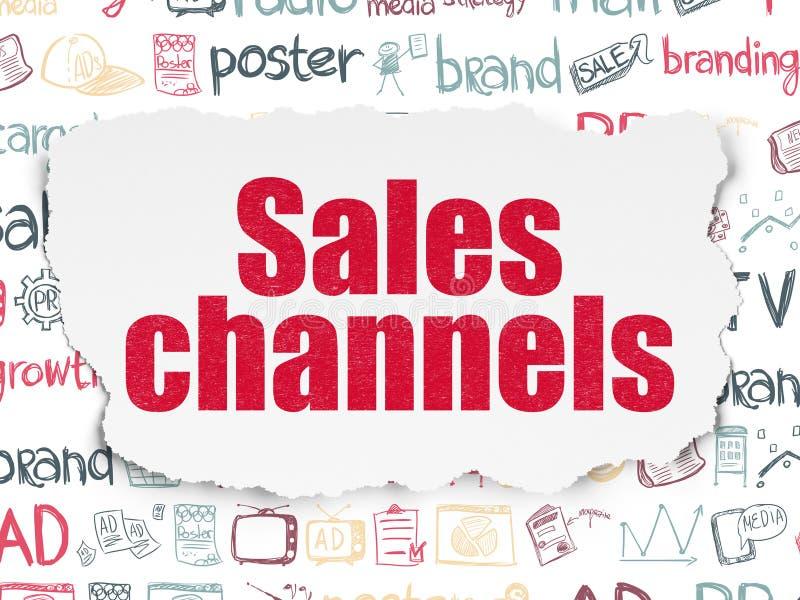 Marketingowy pojęcie: Sprzedaż kanały na Poszarpanym papierze ilustracja wektor