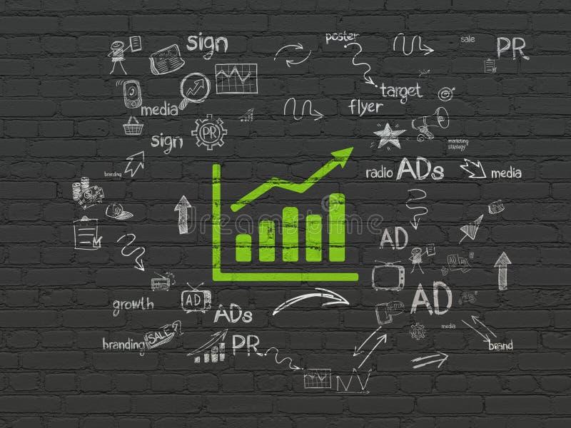 Marketingowy pojęcie: Wzrostowy wykres na ściennym tle fotografia stock