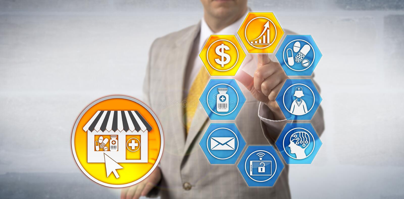 Marketingspezialist-Presenting-eapotheken-Gewinn-Wachstums-Modell stockfotografie