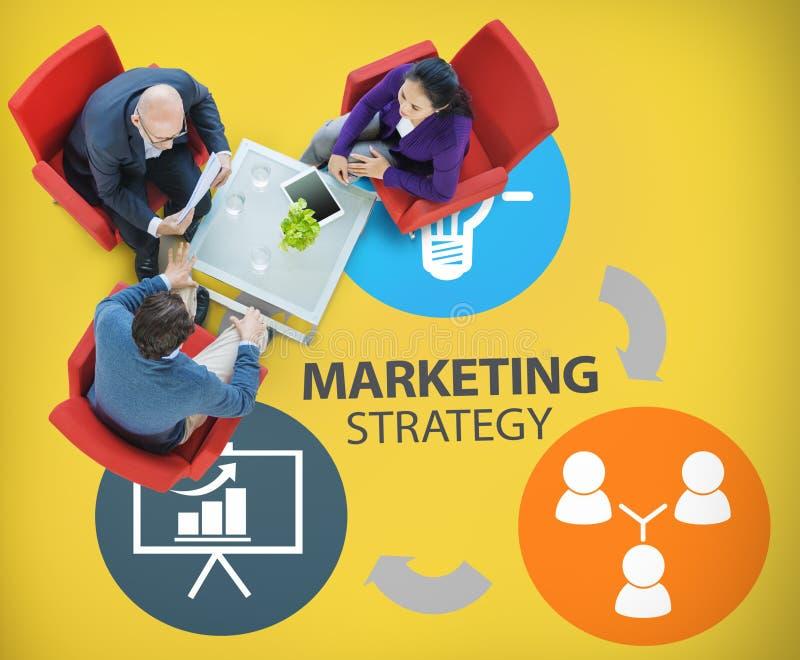 Marketingstrategie, die Handelsanzeigen-Plan Concep einbrennt lizenzfreies stockbild