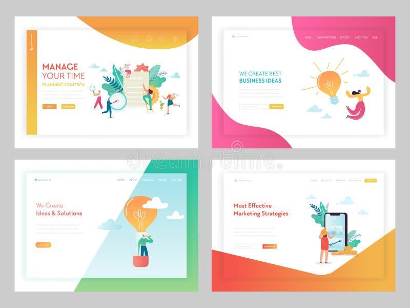 Marketingstrategie-Geschäfts-Lösungen, die Seiten-Schablone landen Zeit-Management-Konzept mit den Charakteren, die an Idee arbei stock abbildung