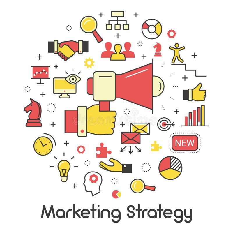 Marketingstrategie-Linie Art Thin Icons vektor abbildung