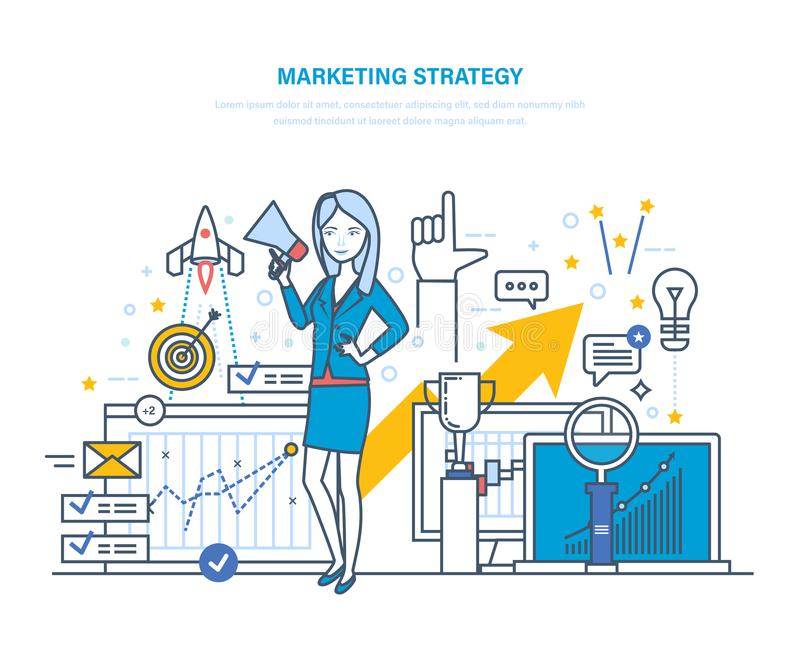 Marketingstrategie Strategieplanung, statistische Analyse, Projektleiter, Marktforschung lizenzfreie abbildung