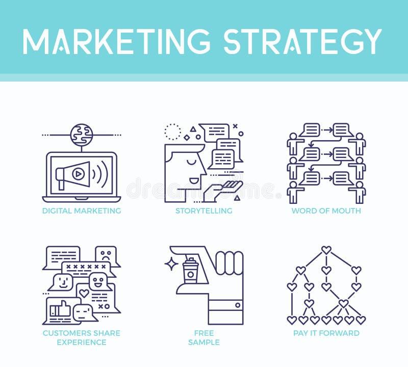 Marketingstrategieillustrationsikonen lizenzfreie abbildung