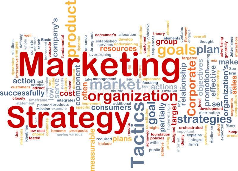 Marketingstrategiewortwolke lizenzfreie abbildung