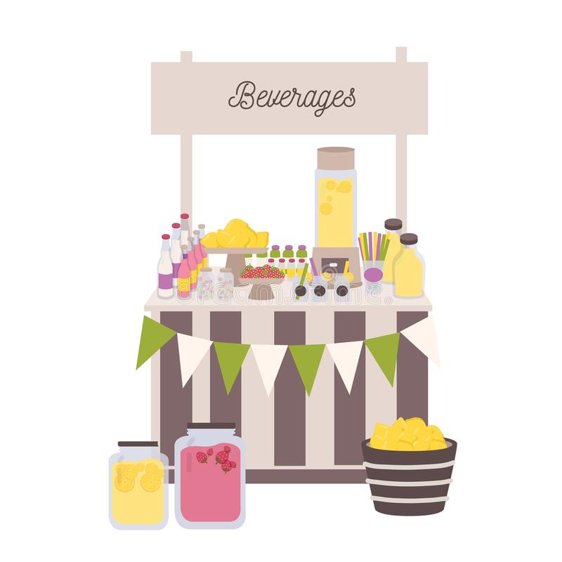 Marketplace or counter with signboard, bottles and jars with lemonade and other beverages. Place for selling refreshing. Drinks on local farmers market. Flat royalty free illustration